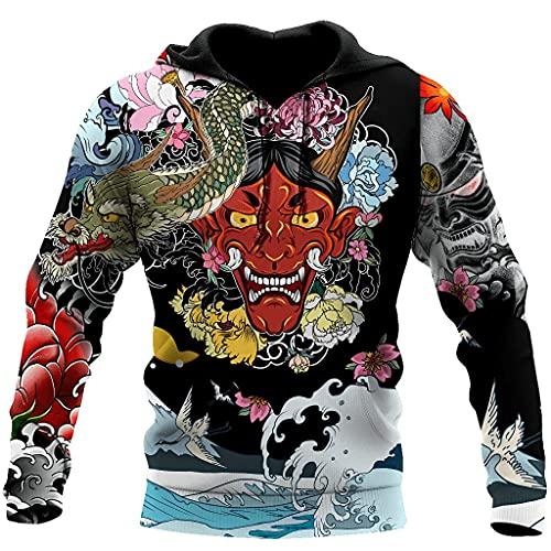 Japanese Oni Mask Tattoo All Over Printed Pefect 3D Hoodie, Zip Hoodie, Sweatshirt, T-Shirt, Hoodie 3D Unisex Men Women Gift