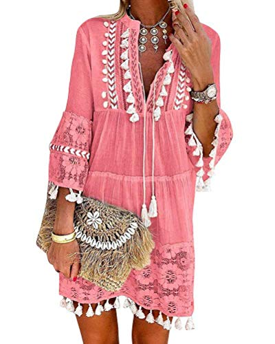 Minetom Damen Kleider Strand Elegant Casual A-Linie Kleid Langarm Sommerkleider Boho V-Ausschnitt Quaste Spitze Tunika Böhmen Mini Kleider A Rosa 40