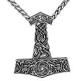 Colgante vikingo de martillo de Thor, chapado en plata, dibujo de nudo celta, martillo Mjölnir
