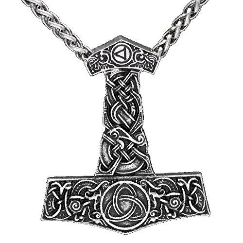 Viking Thor - Collar colgante martillo bañado plata