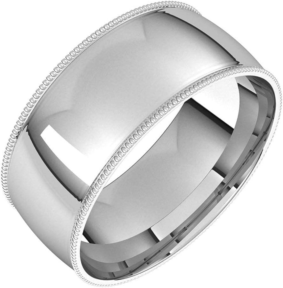 Sterling Silver 8mm Popularity Bombing new work Lightweight Milgrain Wedd Comfort Bridal Fit