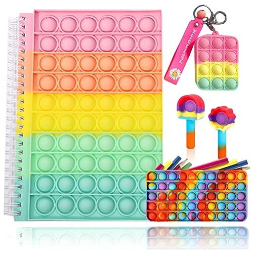 Fidget Toy Cuaderno con llavero, estuche lápices, tapa para lápices, Pop-On-It Push pop bubble sensory fidget toy con reglas universitarias para la escuela, el hogar, la oficina de la universidad