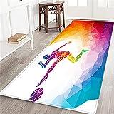 VINISATH Alfombra Larga Decorativa de Lujo Futbolista patea la Pelota en Abstracto Moderno alfombras Extra Suaves y cómodas para Dormitorio,Sala de Estar,niñas,niños,guardería