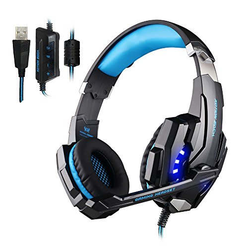 KOTION EACH G9000 USB 7.1 Surround Sound Cuffie Gaming Headset con Mic Luce LED per PC(Nero+Blu)