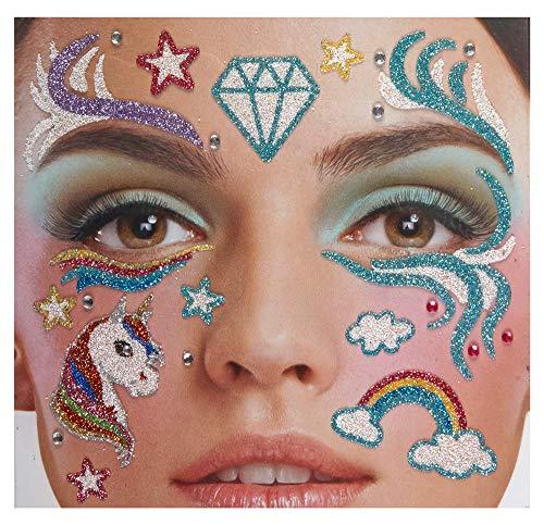 """Andrea Moden Glitzer Gesichts-Tattoo Set Klebetattoos - """"Einhorn"""" - Ideales Accessoire zum Einhorn Fantasy Mystic Kostüm Karneval Mottoparty Junggesellenabschied"""