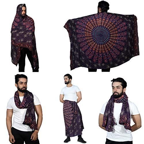 Sarjana Handicrafts Pañuelo para hombre y mujer, diseño de mandala, de rayón, para pareo, para traje de baño, unisex, toalla de playa gitana - marrón - talla única
