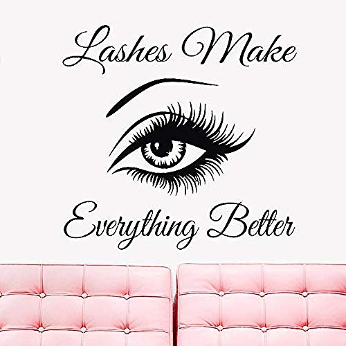 Wall Stickers,Inspirational quote quote wall window vinyl decal sticker eyelashes make everything better eyebrows removable wall sticker bedroom 59x57cm