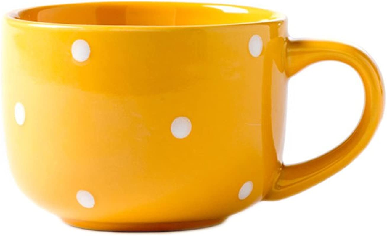 CHOOLD Large Ceramic Coffee Mug Polka Dot Milk Cup Tea Cup Jumbo Mugs Soup Bowl With Handle For Couple 15oz Colorful