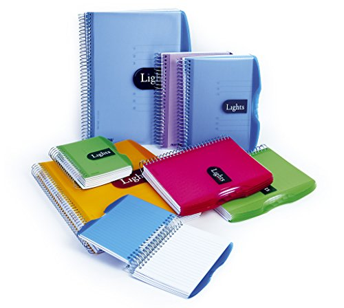 Mintra Corporation Notizbuch Lights, 150 Blatt, DIN A4 / A5 / A6, liniert oder kariert, PP-Umschlag, Spiralbindung, Spiral-Notizbuch mit Hardcover (DIN A5- kariert, blau)