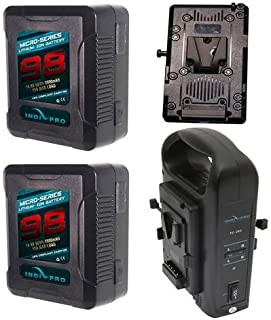 IndiPRO Micro-Series Battery Kit - Includes 2X 98Wh V-Mount Li-Ion Battery, PD2BCH V-Mount Dual Battery Charger with XLR Output, V-Mount Adapter Plate for Blackmagic Design URSA Cameras