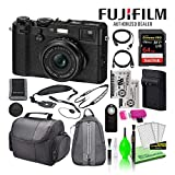 Fujifilm X100F 24.3MP Point & Shoot Digital Camera (Black) (16534651) USA Model Bundle with SanDisk 64GB Extreme PRO SD Card + Spare Battery + Large Camera Bag + Cleaning Kit + More