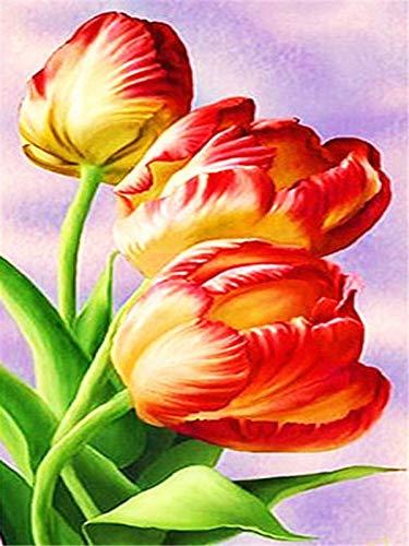 5d bricolage diamant brodé perle ensemble tulipe mosaïque fleur décoration de la maison à la main diamant peinture A5 45x60 cm