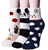 Loritta 3 Pairs Womens Fuzzy Socks Winter Warm Fluffy Soft Slipper Home Sleeping Cute Animal Socks,O-Deer+Panda+Bear