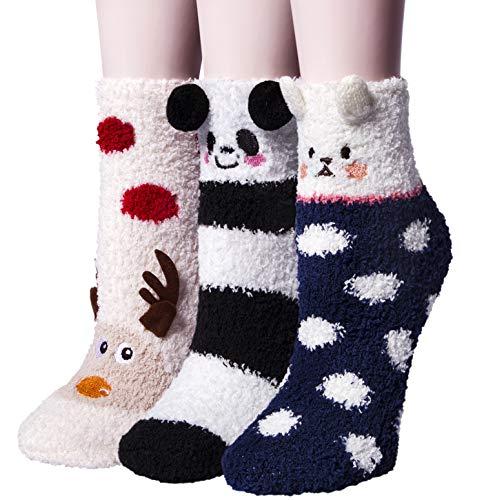 YSense 3 Paar Kuschelsocken Flauschige Damen Socken Süßes Geschenk Weihnachtssocken Valentinstag Geburtstagsgeschenk für Frauen, Freundin MEHRWEG