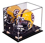 Better Display Cases Acrylic Mini - Miniature Football Helmet (not Full Size) Display Case with Mirror, Gold Risers and Black Base (A003-GR)