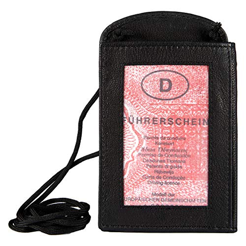 Wildery Leather Neck Pouch with Credit Card Slots and Viewing Window in Black Mobile Phone Chest Pocket Shoulder Bag