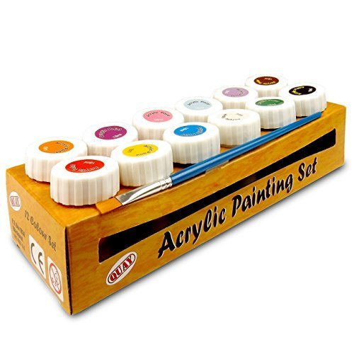 Quay PSC12 Acrylic Set-12 Colour Paint pots, Multicolour, 12 x 18ml