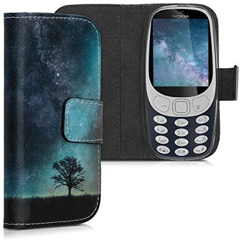 kwmobile Wallet Hülle kompatibel mit Nokia 3310 3G 2017 / 4G 2018 - Hülle Kunstleder mit Kartenfächern Stand Galaxie Baum Wiese Blau Grau Schwarz