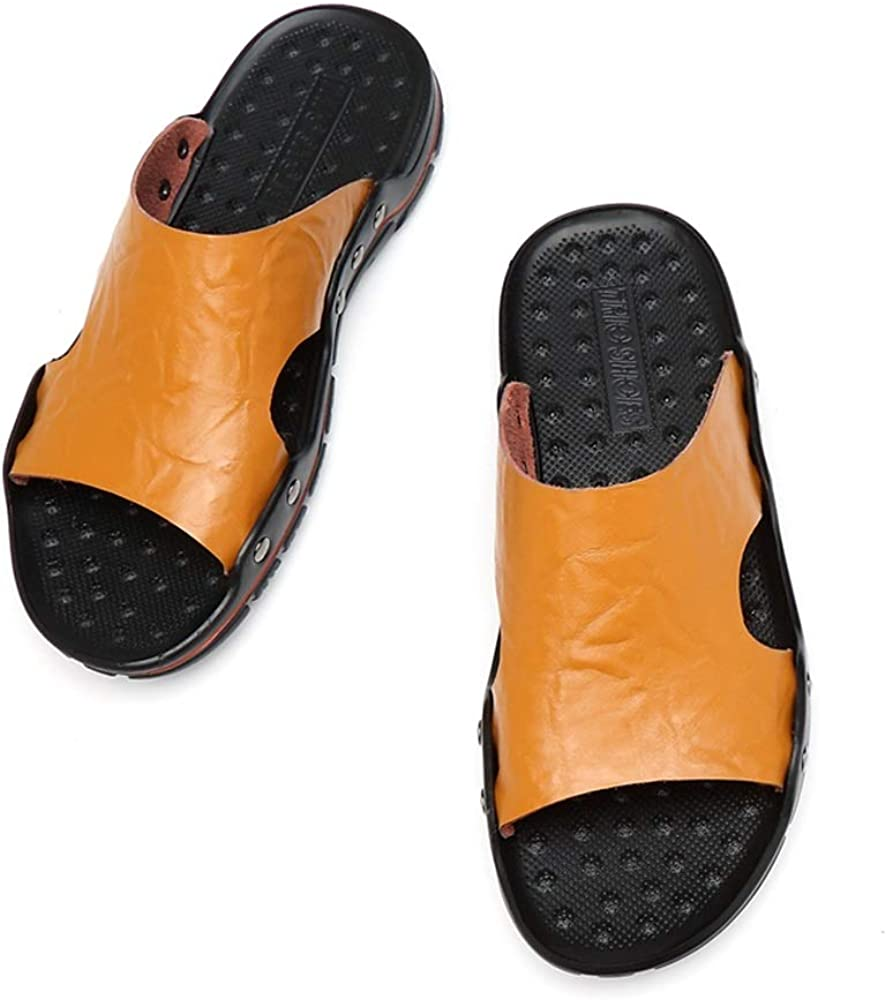 Mens Fashion Leisure Sandals HHF Flat Sandals /& Slippers Open Toe Slippers Breathable Non-Slip Rivet Reinforcement Leather Beach Shoes Lightweight Wear Resistant