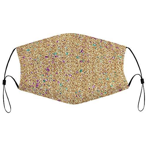 Dkisee Fashion Unisex Staubmaske mit Filterelement, verstellbare Ohrschlaufen, Gesichtsmaske, Outdoor-Schutzmaske (Gold Glitter 01)