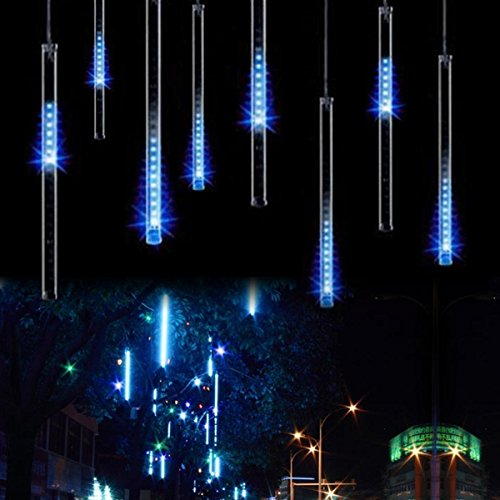 KINGCOO 360LED Meteoritenschauer Lichterketten Garten, Wasserdicht 30cm 10 Tubes Fallende Regentropfen Solarleuchten Dekorative Lichtschläuche für Außen Party Hochzeit Weihnachtsbaum(Blau)