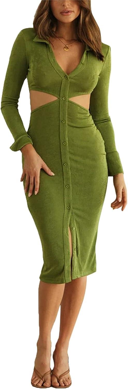 Women Sexy Dress Turn-Down Collar Long Sleeve Waist Hollow Out One-Piece Bodycon Night Out Clubwear Dress