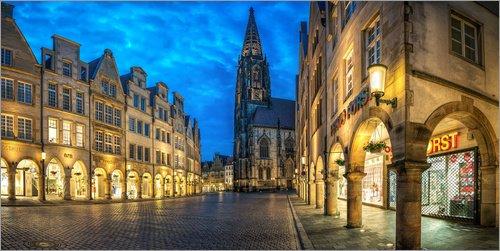 Posterlounge Acrylglasbild 100 x 50 cm: Münster Prinzipalmarkt Lambertikirche von Daniel Heine - Wandbild, Acryl Glasbild, Druck auf Acryl Glas Bild