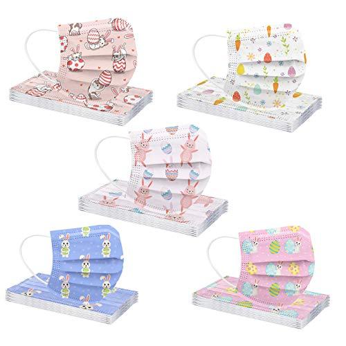 50 bandanas desechables de tres capas con impresión de Pascua para adultos