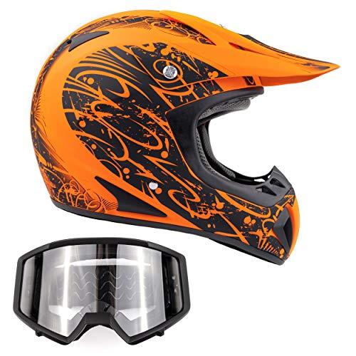 Typhoon Adult ATV Helmet & Goggles Gear Combo, Matte Orange w/Black (Medium)