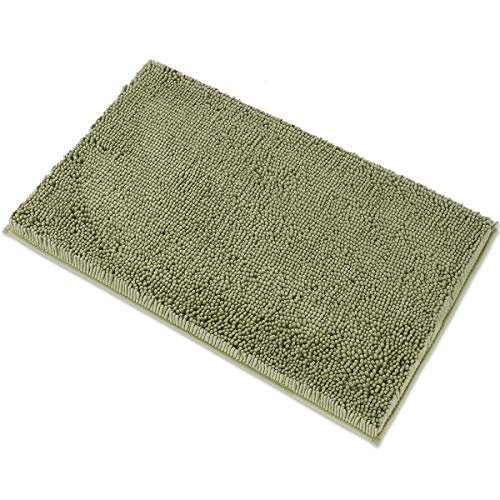 MAYSHINE Chenille Bath Mat for Bathroom Rugs 32' x20' , Extra Soft and Absorbent Microfiber Shag Rug, Machine Wash Dry- Perfect Plush Carpet Mats for Tub, Shower, and Room- Sage Green