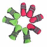 ZSCWMB Zapatos para Mascotas Zapatos para Perros Zapatos para Caminar Pequeños Perros Amazon Suministros Calientes para Mascotas Ropa para Mascotas (Color : Green [Spot 4 Packs], Size : M)