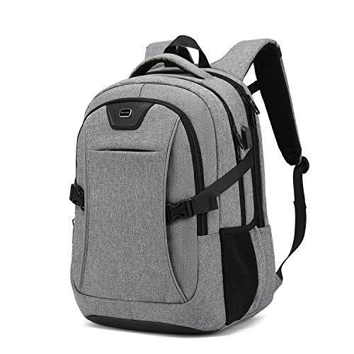 Travel Laptop Backpack, 17 Inch Drop Protection Computer Backpacks Durable Hiking Work Business Daypack Water Resistant Schoolbag with USB Charging Port, Gifts for Men Women Boys Girls(17 Inch, Light Grey)