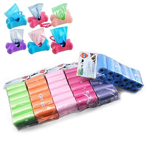 BPS PET SHOP Sacchetti Cane,555 Sacchetti igienici con 1 dispenser,Sacchetti per bisogni dei Cani, con Dispenser e Clip per guinzaglio