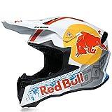 Cascos De Motocross,CertificacióN Dot/ECE Profesional Anti Niebla Protección UV Casco Protector de Color Motocross Clásico Mujer Hombre Red Bull B,M=55~56cm