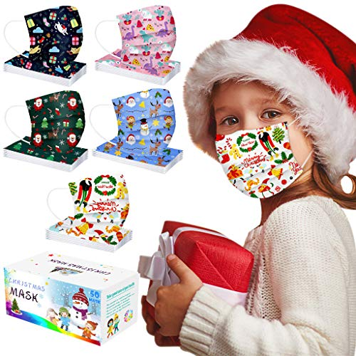 50pcs Christmas Kids Disposable Face_Mask Children Face Coverings 3Ply Cute Printed Face Bandanas Party Festivals