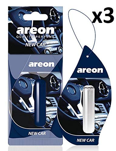 AREON Liquid Auto Duft New Car Neues Auto Lufterfrischer Neuwagen Parfüm Autoduft Blau Duftflakon Flakon Set Aufhängen Hängend Anhänger Spiegel 5ml 3D (Pack x 3)