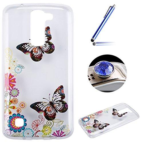 LG K7 Coque, Etsue pour LG K7 Vogue Gel Housse étui de téléphone mobile ,TPU Silicone Matériau Transparente Ultra Mince Supérieur Semi Transparent Doux Coque [couleur de papillon] Motif pour LG K7 + Gratuit 1 x Bleu stylet + 1 x Bling poussière plug (couleurs aléatoires)