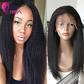 Natural Looking Italian Yaki Lace Front Wigs/Silk Top Lace Front Wigs Best Brazilian Remy Human Hair Wigs with Baby Hair for African Americans 130 Density (18