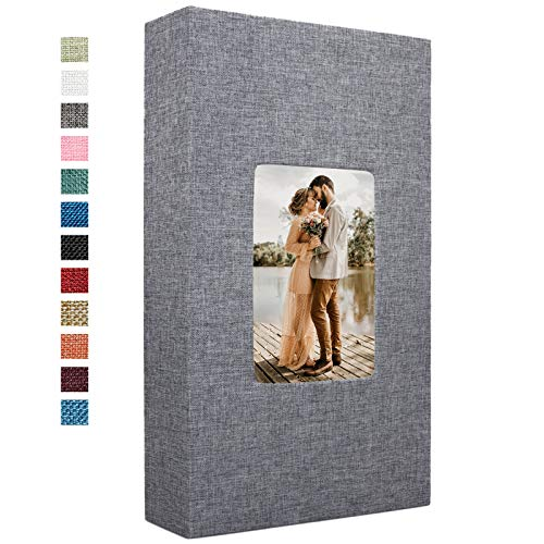 Vienrose Linen Photo Album 300 Pockets for 4x6 Photos Fabric Cover Photo Books Slip-in Picture Albums Wedding Family Valentines Day Gift