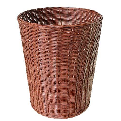 Contenedores de residuos de interior Simple Bamboo Rattan Bins, sala de estar creativa, dormitorio, cubo de basura tejido a mano, contenedor de reciclaje de residuos (tamaño: s) YMIK ( Size : Small )