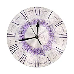 FeHuew Roman Numerals Retro Lavender Decorative Round Wall Clock 9.5 Inch Non Ticking Battery Operated for Student Office School Home Decor Silent Desk Clock Art