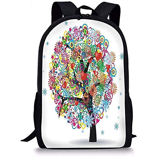 Hui-Shop Schultaschen Baum des Lebens, magischer bunter Baum mit Linien und Herz-Blättern Liebesleben-Feier-Haupt-Multi für Jungen-Mädchen