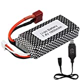 2S LiPo Battery 7.4V 1600mAh RC Car Rechargeable Battery 25C T Plug with 7.4V USB Charger for Hosim S920 9125 1/10 Scale All Terrain RC Truck