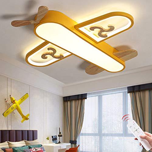 Luz De Techo LED Lámpara Para Habitación De Niños Dibujos Animados Modernos Lámpara De Techo De Avión Control Remoto Dormitorio De Niños Sala De Iluminación Colgante (yellow-Ceiling light 68CM)