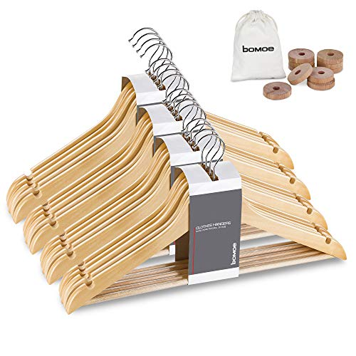 bomoe set di 20 grucce - appendiabiti in legno per giacche e vestiti - beige - appendiabiti in legno certificato FSC®, girevole a 360° - Sjard