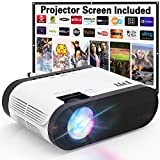TMY Projector with 100 Screen, Mini Projector 180 ANSI Lumens, 1080P Full HD Enhanced Outdoor Projector Compatible with TV Stick HDMI USB VGA AV, Projector for Outdoor Movies & Home Cinema.