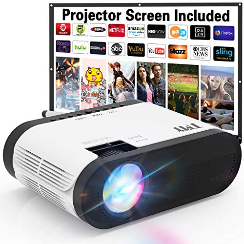 TMY Projector with 100″ Screen, 6000 Lumens Mini Projector 1080P Full HD Supported, Portable Outdoor Projector Compatible with TV Stick HDMI USB VGA AV, Projector for Outdoor Movies & Home Cinema.