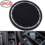 DBlosp Universal Vehicle Bling Cup Holder Insert Coaster Car Interior Accessories-2.75 inch Silicone Anti Slip Crystal Rhinestone Car Coaster-Universal (Pack of 2)