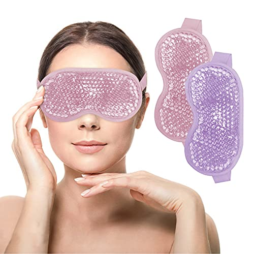 Adofect 2 PCS Gel Beads Ice Eye Mask Reusable Cooling Eye Mask, Hot and Cold Eye Mask Pack for Puffy Eyes, Dry Eyes, Dark Circles, Migraines and Tension Relief, Purple and Pink
