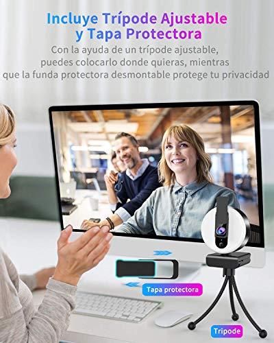 OVIFM Webcam mit Mikrofon für PC und Lichtring, HD 2K Webcam mit Stativ und Cover für PC/Mac/Laptop/Desktop, Webcam für YouTube, Skype, Zoom, Xbox One, PS4 und Videokonferenz